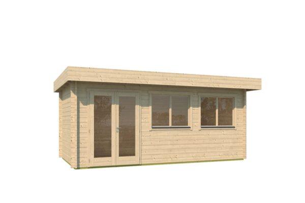 Modern corner shed KURT 44 A | 6.1 x 3.6 m (19'11'' x 11'10'') 44 mm 2