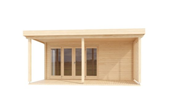 A modern timber cabin with a terrace, the KAARLO 44 | 6m x 6.8m (19' 7'' x 22' 4'') 44mm 2