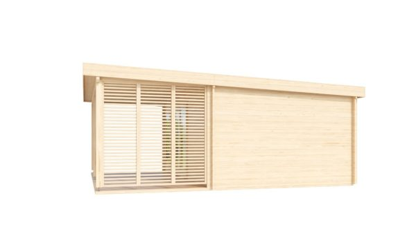 A modern timber cabin with a terrace, the KAARLO 44 | 6m x 6.8m (19' 7'' x 22' 4'') 44mm 4