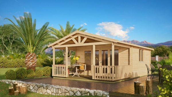 Versatile log cabin LACHLAN 44 B | 7.45 x 4.75 m (24'5'' x 15'7'') 44 mm 1