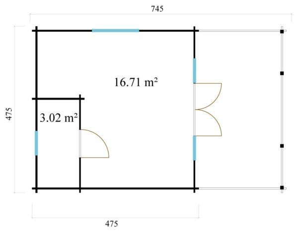 Versatile log cabin LACHLAN 44 B | 7.45 x 4.75 m (24'5'' x 15'7'') 44 mm 6