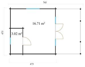 Versatile log cabin LACHLAN 44 B | 7.45 x 4.75 m (24'5'' x 15'7'') 44 mm 7
