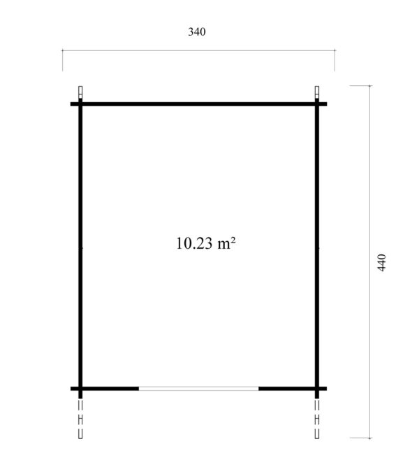 A simple shed with a double door, LEXI 44H | 3.4m x 4.4m (11' 2'' x 14' 5'') 44mm 6