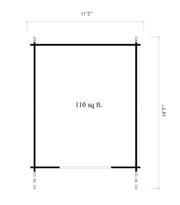 A simple shed with a double door, LEXI 44H | 3.4m x 4.4m (11' 2'' x 14' 5'') 44mm 7