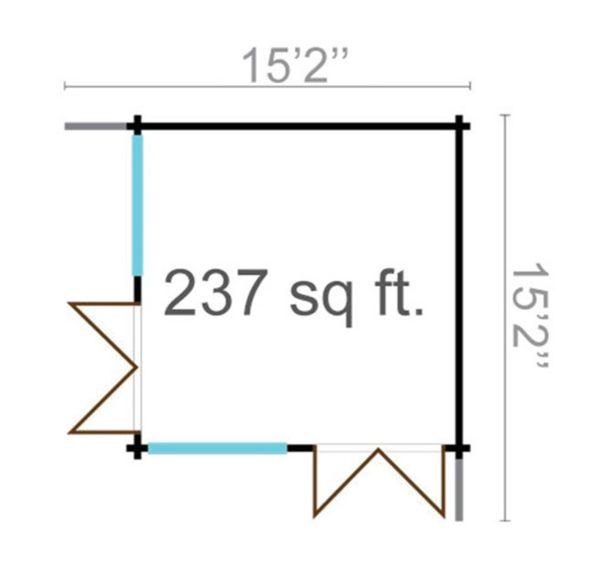 Wooden garden office LISA 44 A | 4.6 x 4.6 m (15'2'' x 15'2'') 44 mm 15