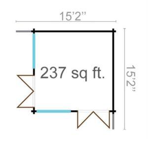 Timber garden office LISA 70 A | 4.6 x 4.6 m (15'2'' x 15'2'') 70 mm 10