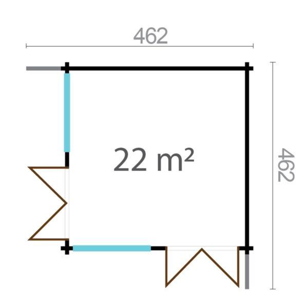 Wooden garden office LISA 44 A | 4.6 x 4.6 m (15'2'' x 15'2'') 44 mm 14