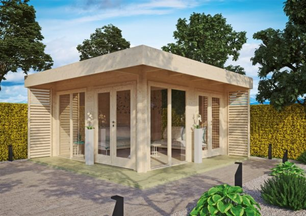 Timber garden office LISA 70 A | 4.6 x 4.6 m (15'2'' x 15'2'') 70 mm 1