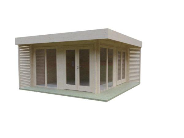 Timber garden office LISA 70 A | 4.6 x 4.6 m (15'2'' x 15'2'') 70 mm 3