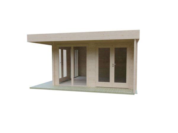 Timber garden office LISA 70 A | 4.6 x 4.6 m (15'2'' x 15'2'') 70 mm 4
