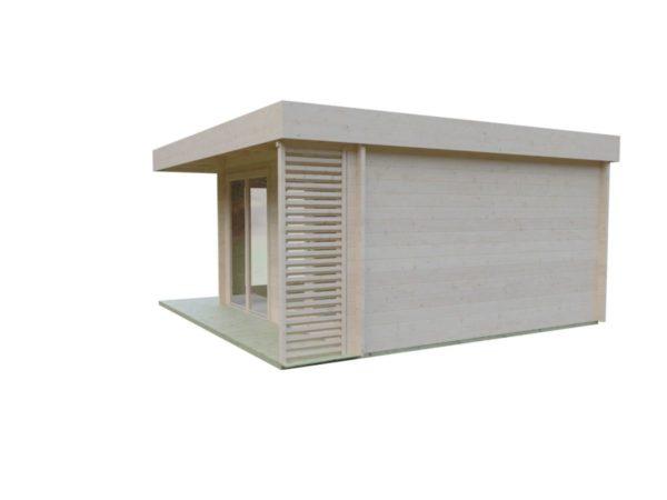 Timber garden office LISA 70 A | 4.6 x 4.6 m (15'2'' x 15'2'') 70 mm 5