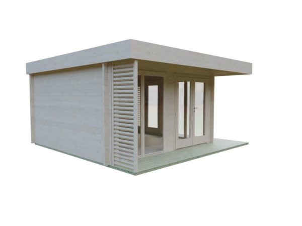 Timber garden office LISA 70 A | 4.6 x 4.6 m (15'2'' x 15'2'') 70 mm 7
