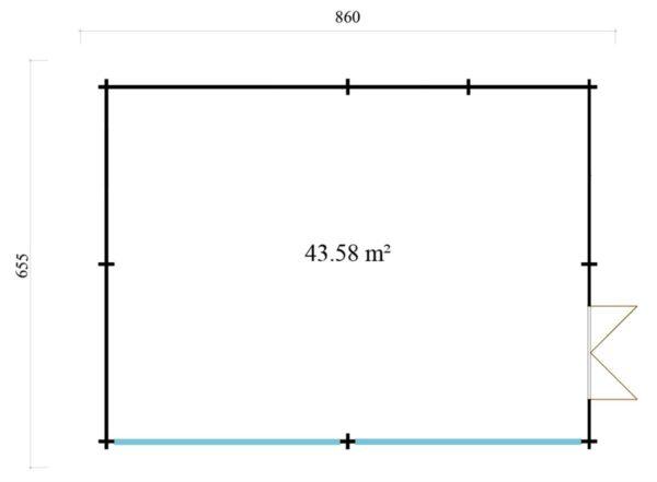 Wooden Garden Gym MARINA 44 | 8.6 x 6.6 m (28'21'' x 21'49'') 44 mm 8