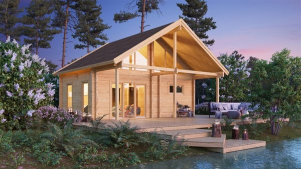Log cabin with a steam room MARIT 90   7.6 x 7.4 m (24'11' x 23'2'') 90 mm 1