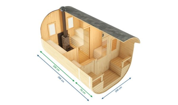 2-room barrel sauna with a terrace MONTE | Ø 240 cm x 400 cm (Ø 7'10'' x 13'2'') 5
