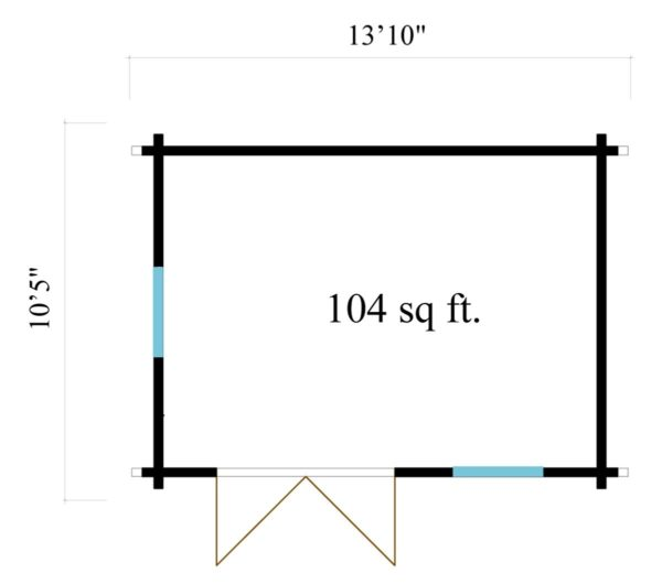 Simple garden cabin NARVIC 70 B | 4.3 x 3.2 m (13'10'' x 10'5'') 70 mm 7