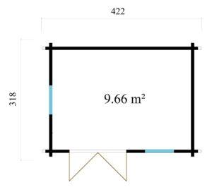 Simple garden cabin NARVIC 70 B | 4.3 x 3.2 m (13'10'' x 10'5'') 70 mm 10