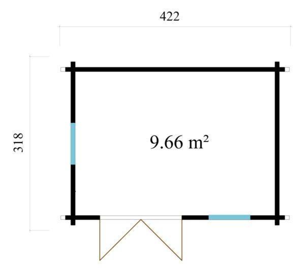 Simple garden cabin NARVIC 70 B | 4.3 x 3.2 m (13'10'' x 10'5'') 70 mm 8