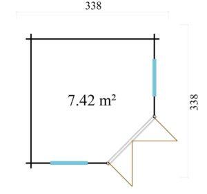 Stylish corner garden room NELLY 44 D | 3.4 x 3.4 m (11'1'' x 11'1'') 44 mm 10