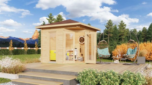 Stylish corner garden shed NELLY 28 D | 3.4 x 3.4 m (11'1'' x 11'1'') 28 mm 1