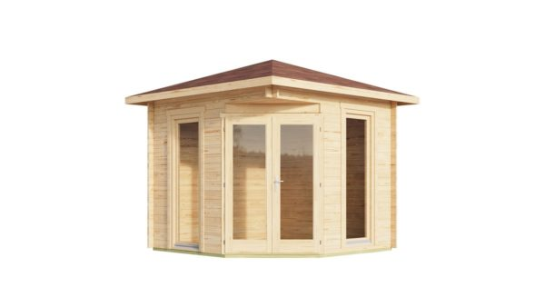 Stylish corner garden shed NELLY 28 D | 3.4 x 3.4 m (11'1'' x 11'1'') 28 mm 2