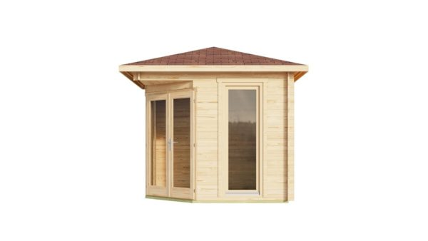 Stylish corner garden shed NELLY 28 D | 3.4 x 3.4 m (11'1'' x 11'1'') 28 mm 3