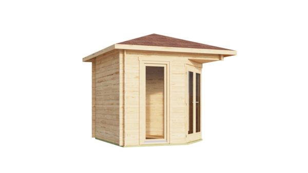 Stylish corner garden shed NELLY 28 D | 3.4 x 3.4 m (11'1'' x 11'1'') 28 mm 6