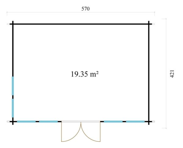 Classical garden room Clockhouse NEWCASTLE 70   5.7 x 4.2 m (18'8'' x 13'8'') 70 mm 8