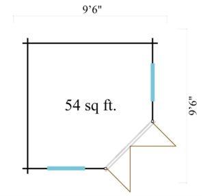 Basic corner shed NINA 44 C | 2.9 x 2.9 m (9'6'' x 9'6'') 44 mm 12