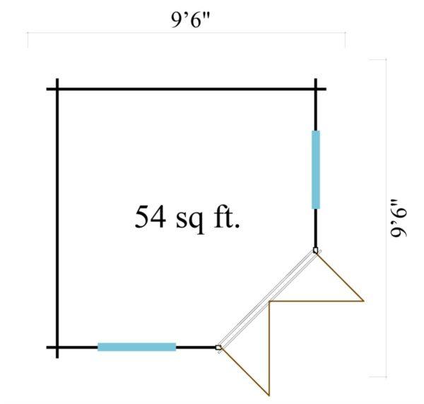 Basic corner shed NINA 44 C | 2.9 x 2.9 m (9'6'' x 9'6'') 44 mm 10