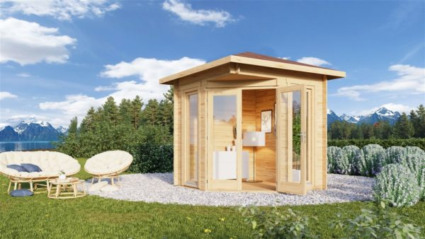 Simple corner garden shed NINA 28 D | 2.9 x 2.9 m (9'6'' x 9'6'') 28 mm 1