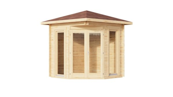 Simple corner garden shed NINA 28 D | 2.9 x 2.9 m (9'6'' x 9'6'') 28 mm 2
