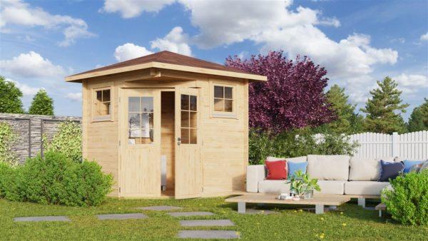 Basic corner shed NINA 44 C | 2.9 x 2.9 m (9'6'' x 9'6'') 44 mm 1