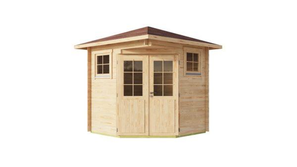 Basic corner shed NINA 44 C | 2.9 x 2.9 m (9'6'' x 9'6'') 44 mm 2