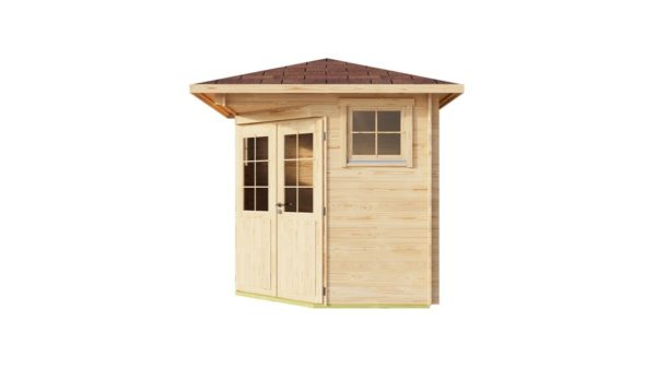 Basic corner shed NINA 44 C | 2.9 x 2.9 m (9'6'' x 9'6'') 44 mm 3