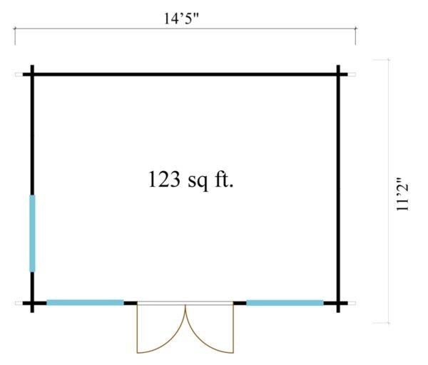 Gable roof garden room Clockhouse OXFORD 44   4.4 x 3.4 m (14'5'' x 11'2'') 44 mm 7