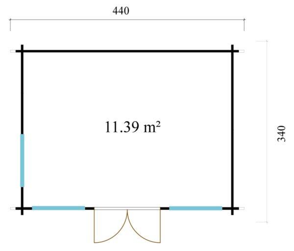 Gable roof garden room Clockhouse OXFORD 44   4.4 x 3.4 m (14'5'' x 11'2'') 44 mm 8