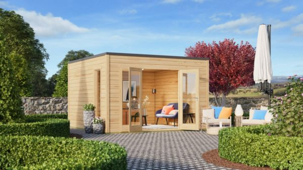 A simple modern wooden garden room Q-BIC 44 A | 3.9 x 3.9 m (12'7'' x 12'7'') 44 mm 1