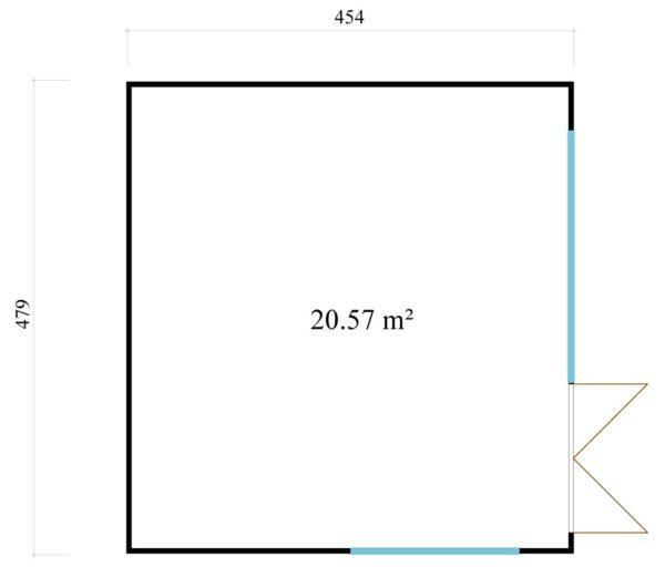 Modern garden room with simple design Q-BIC 44 B | 4.6 x 4.8 m (14'11'' x 15'9'') 44 mm 7