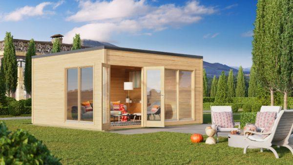 Modern garden room with simple design Q-BIC 44 B | 4.6 x 4.8 m (14'11'' x 15'9'') 44 mm 1