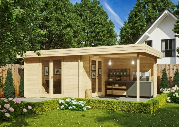Garden room with side canopy RANJA 44 | 6.8 x 4.1 m (22'4'' x 13'3'') 44 mm 2
