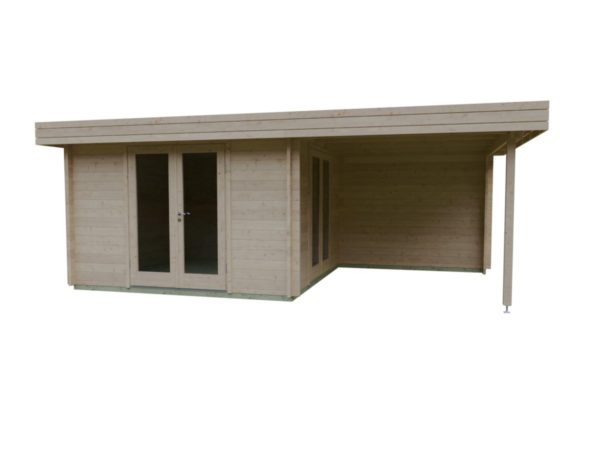 Garden room with side canopy RANJA 44 | 6.8 x 4.1 m (22'4'' x 13'3'') 44 mm 3