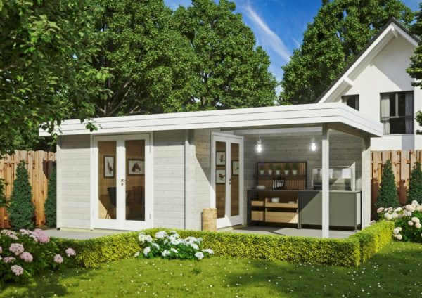 Garden room with side canopy RANJA 44 | 6.8 x 4.1 m (22'4'' x 13'3'') 44 mm 1