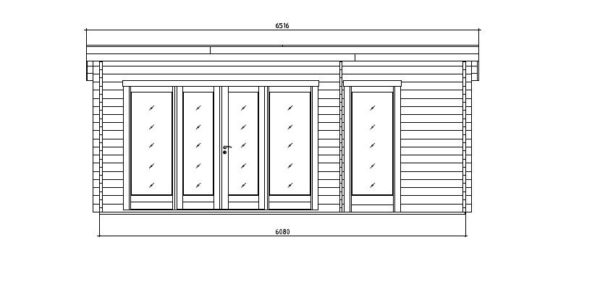 Wooden garden house with 3 rooms ROSE 70 | 6.3 m x 4.1 m (20'7'' x 13'5'') 70 mm 6