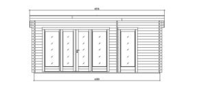 Wooden garden house with 3 rooms ROSE 70 | 6.3 m x 4.1 m (20'7'' x 13'5'') 70 mm 18