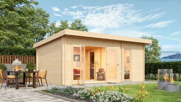 Wooden garden house with 3 rooms ROSE 70 | 6.3 m x 4.1 m (20'7'' x 13'5'') 70 mm 1