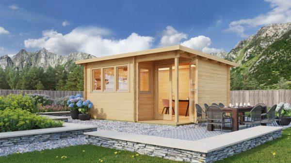 Double door garden office SAM 44 | 5.4 x 4.4 m (17'9'' x 14'5'') 44 mm 1