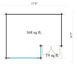 Double door garden office SAM 44 | 5.4 x 4.4 m (17'9'' x 14'5'') 44 mm 10