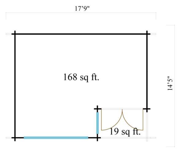 Double door garden office SAM 44 | 5.4 x 4.4 m (17'9'' x 14'5'') 44 mm 7