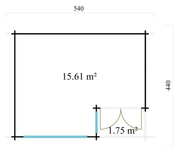 Double door garden office SAM 44 | 5.4 x 4.4 m (17'9'' x 14'5'') 44 mm 8